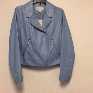NWT M Michael Kors Faux Leather Jacket Light Blue